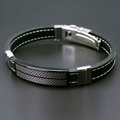 Men Glorious Black Stainless Steel Rubber Wristband Bangle Boys Chic Bracelet