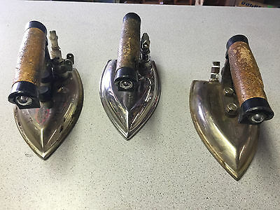 VINTAGE LOT 3 SILVER STAR STEAM IRON BS-3C GRAVITY FEED STAINLESS STEEL !!