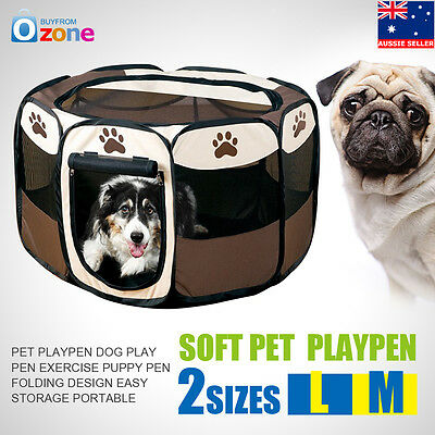 8 Sided Portable Dog Pet Cat Play Pen Closure Outdoor Soft Cage Kennel Tent New