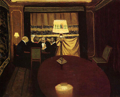Excellent Oil painting Félix Vallotton - The Poker Game male figures in room art