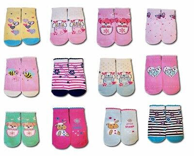 Baby Toddler Girl Anti Non Slip Cotton Silicone Sole Socks 1 Pair  9-24 Months