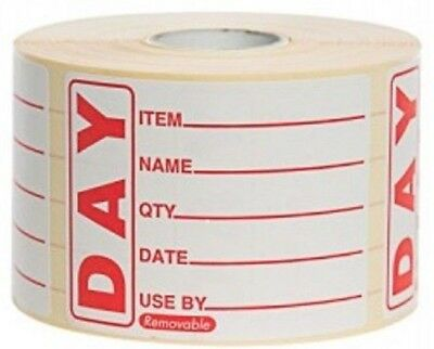 Prepped Food Day Dot Labels/Catering Stickers 50x 65mm 500 Per Roll