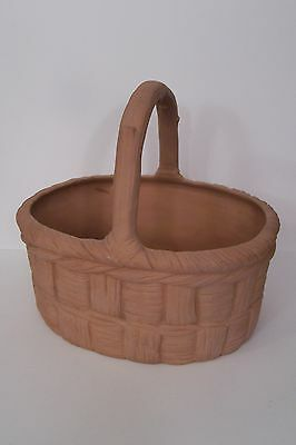 """Vintage Terra Cotta   Basket  9x7x81/2"""" Tall  Country French   Estate Sale"""