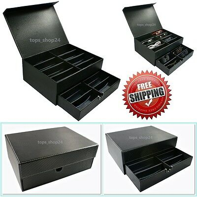 Sunglasses Eyewear Jewelry Watch Display Box Case Stylish Carbon Fiber Design