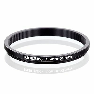 RISE(UK) 55mm-52mm 55-52 mm 55 to 52 Step down Ring Filter Adapter black