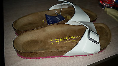 Reduced - Birkenstock - Madrid - White Varnish With Pink Soles Rrp $111 Save $31