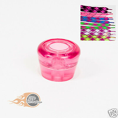 Roller Skate Toe Stops Stoppers Pair With Laces Pink