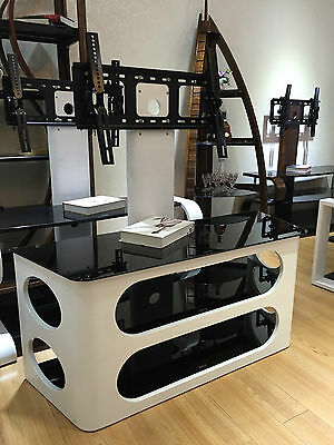"""White Wooden TV Stand with TV Bracket for 32"""" 65"""" TV's Finished with Black Glass"""
