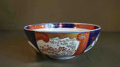 Beautiful Early 1900 Large Japanese Polychrome Imari Bowl Cherry Blossom 11""