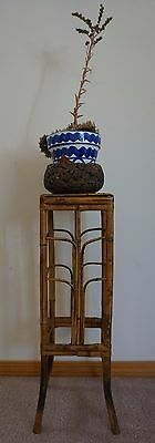 "Antique Chinese Qing Dynasty Bamboo Table Plant Stand Square Top 25""H"