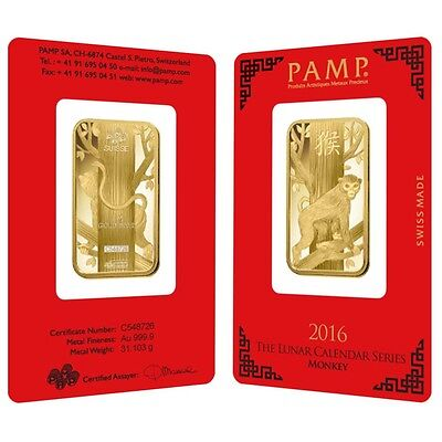 1 oz PAMP Suisse Year of the Monkey Gold Bar (In Assay)
