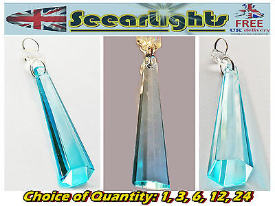 Chandelier Cut Glass Crystals Light Spare Parts Drops Icicle Antique Teal Blue