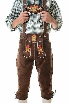 Authentic German Kniebund Lederhosen Oktoberfest Tracht dark brown ^^ Bavaria ^^