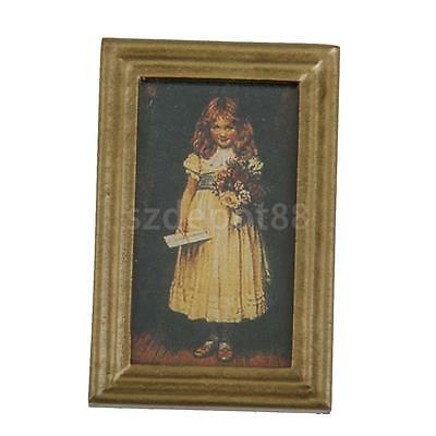 Dollhouse Miniature Framed Girl with Flower Wall Painting Mural Picture 1/12