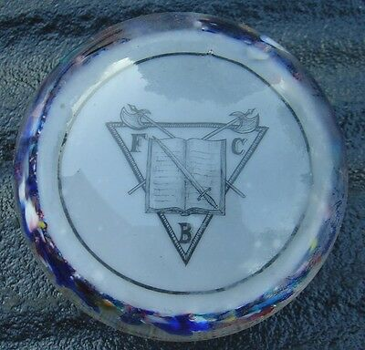 Vtg FCB Knights of Pythias Glass Paperweight
