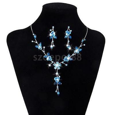 Blue Rose Flower Wedding Bridal Party Jewelry Diamante Necklace Earrings Set