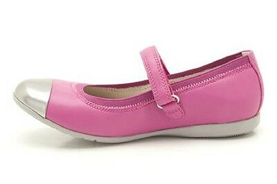 New Clarks Girls Dance Bee Lipstick Pink Leather  Shoes Size 7/7.5