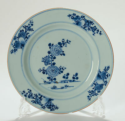 Antique Qianlong Chinese Blue & White Porcelain Plate Hand Painted with Flowers