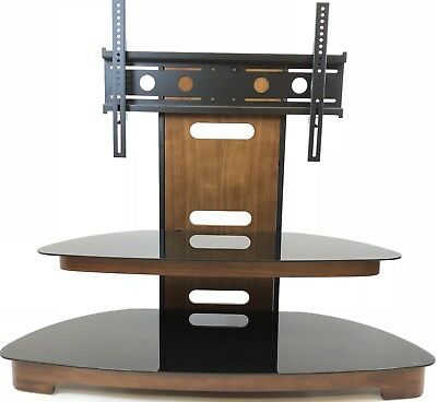 "S Shape Walnut Veneer TV Stand and TV Bracket for 32"" - 65"" TV's with Black Safe"
