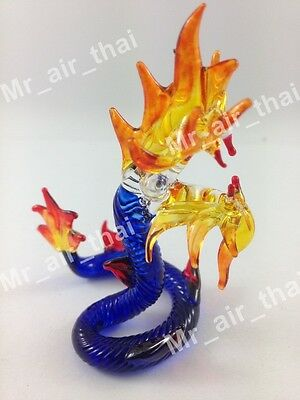Tiny Crystal Snake Hand Blown Clear Glass Art Dragon Figurine Animals Collection