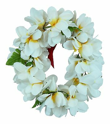 Hawaiian Lei Party Luau Haku Elastic Plumeria Silk Fabric Flower Floral Yellow H
