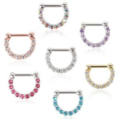 Fashion Unisex Surgical Steel CZ Septum Clicker Nose Ring Hoop Piercing Jewelry