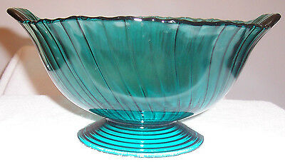 """Swirl Ultramarine 10"""" Footed Bowl With Closed Handles"""