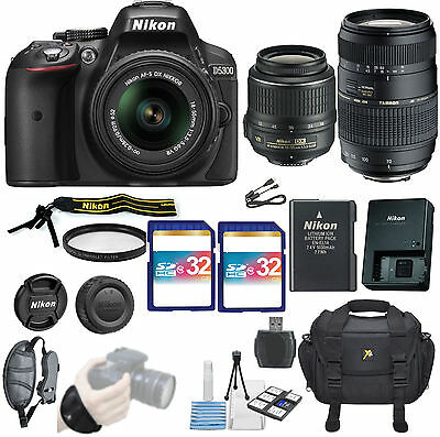 Nikon D5300 DSLR Camera 2 Lens Pro Kit With Tamron 70-300mm AF &  Nikkor18-55mm