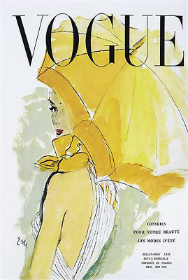 80cm x 50cm painting  french umbrella  vogue  vintage art deco cover 1950 canvas