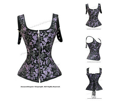 Heavy Duty 24 Double Steel Boned Waist Training Brocade Overbust Corset #1215-B