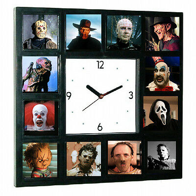 Horror Movie Jason Freddy Kruger Pinhead Chucky Michael Myers + Halloween Clock