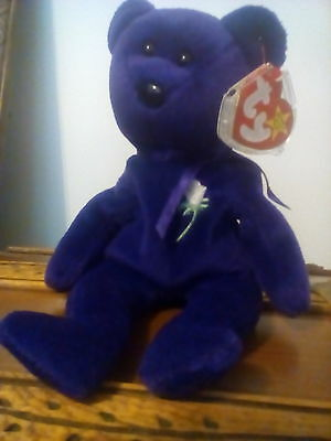 Very Rare Ty Beanie Babies Princess Diana Bear (1St Edition No Space On Tag)1997