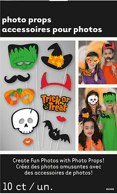 10pcs HALLOWEEN PHOTO BOOTH PROPS ON A STICK TRICK OR TREAT SCARY PHOTOGRAPHY