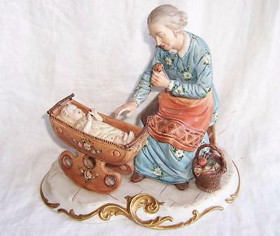 Large Capodimonte Figure group of Grandmother & Baby by Volta