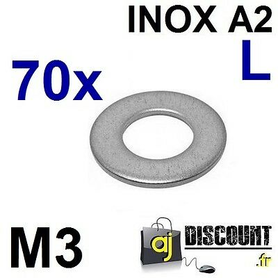 70x Rondelle plate - M3 - Large L - INOX A2