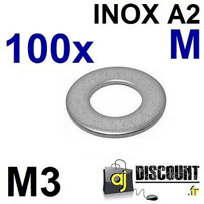 100x Rondelle plate - M3 - Moyenne M - INOX A2