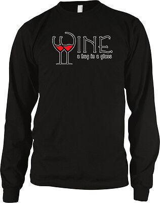 Wine A Hug In A Glass Red White Vino Stem Glasses Funny Long Sleeve Thermal