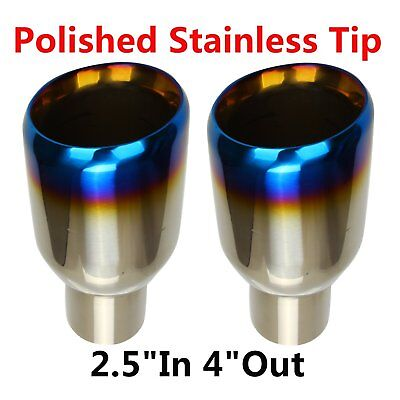 "2X 2.5""In 4""Out Blue Burnt Exhaust Double Layer Slant Tip Polished Stainless"