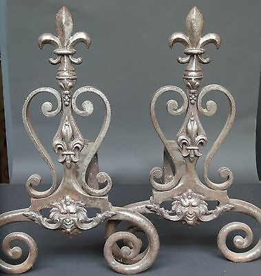 Pair Of Andirons -French High Quality Wrought Iron Forged-Lily Flower-Mascaron