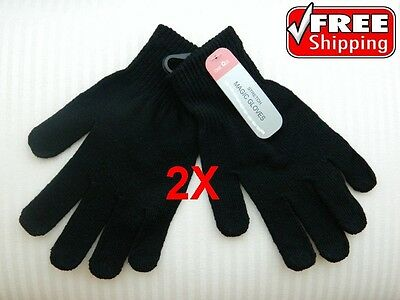 2 x Unisex Magic Gloves - Thermal, Stretch, Winter Warmer, Black