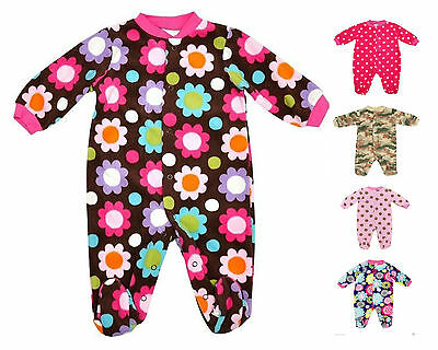 Baby Fleece Sleepsuits Camo Polkadot Flower Romper Suit Age NB 0-3 3-6 6-9 Month