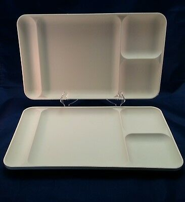 Tupperware Divided Lunch Trays Off White Almond Set of 2