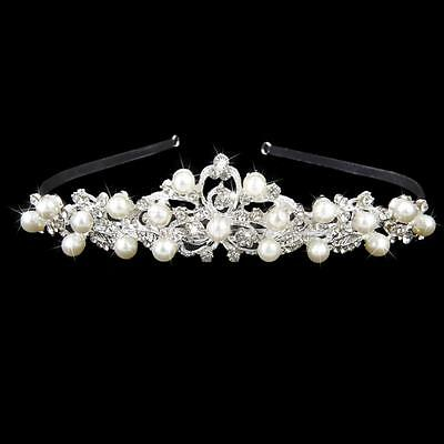 Bridal Wedding Party Jewelry Pearl Crystal Flower Hair Band Headband Tiara