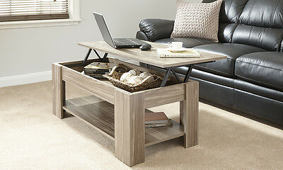 New Caspian Walnut Lift Up Top Coffee Table with Storage & Shelf