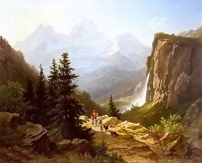 Nice Oil painting joseph zelger - Lauterbrunnen mountains landscape on canvas