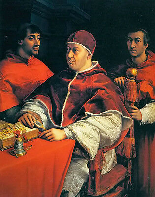 Oil painting hermann kern - Male portrait of leo x with two cardinals on canvas