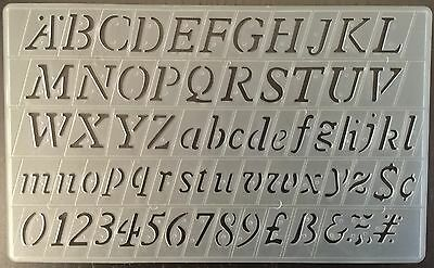 20mm ITALIC ENGLISH STENCILS UPPER / LOWER CASE LETTERS & NUMBERS STENCIL P-1597