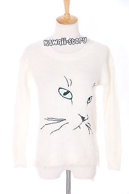 TH-07 Gr. XS-S Pullover Sweater weiß white cat Katze cute Japan Trend Fashion