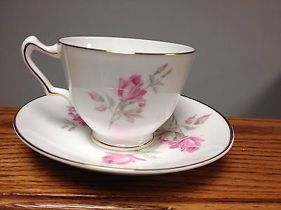 Vintace Crown Staffordshire Bone China England Pink Rose Cup And Saucer Set