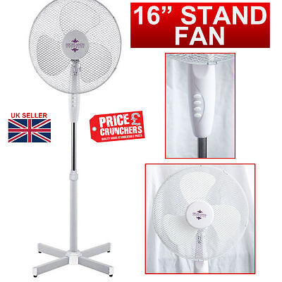 "16"" Oscillating Air Cooling Fan Free Standing Extendable Office Home New White"
